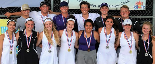The Mason High School tennis team won four of the five titles at the Region IV-2A Tournament in Corpus Christi on Thursday, April 18, 2019.