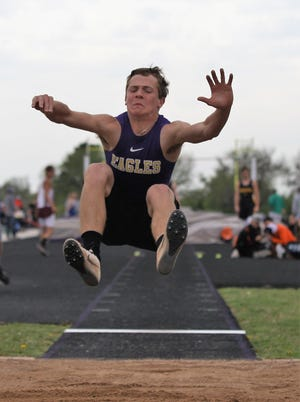 Sterling City's Cross Knittel  competes in the boys long jump at the Districts 11&12-1A Area Track and Field Meet Tuesday, April 16, 2019, in Sterling City.