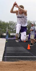Irion County High School's Riley Gryder wins the boys triple jump at the Districts 11&12-1A Area Track and Field Meet Tuesday, April 16, 2019, in Sterling City.