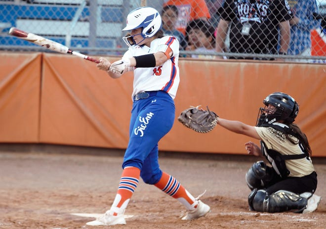 San Angelo Central's Taylor Martin swings at a pitch during a District 3-6A game against Abilene High earlier in the 2019 season.