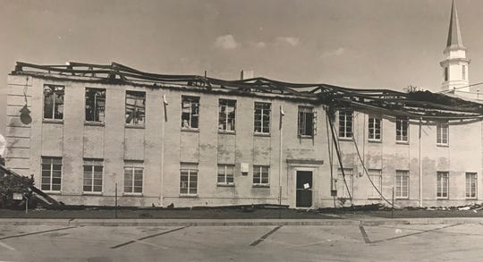 Immanuel Baptist Church, 90 E. 14th St, suffered major damage from an arsonist's fire in August of 1981.
