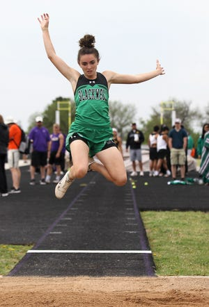 Blackwell High School's Kiley Cummings wins the girls triple jump at the Districts 11&12-1A Area Track and Field Meet Tuesday, April 16, 2019, in Sterling City.