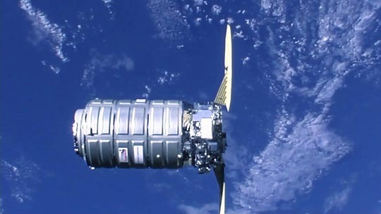 The Cygnus spacecraft from Northrop Grumman approaches the International Space Station for a robotic capture