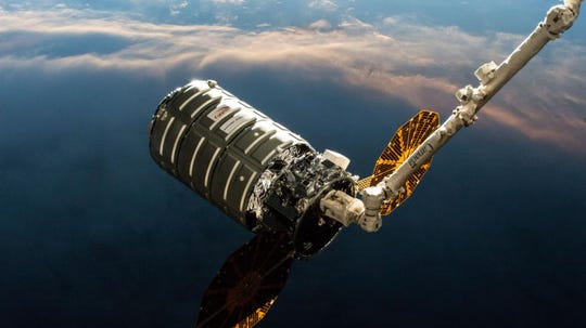 After its successful launch aboard Antares from NASA's Wallops Flight Facility on Wednesday, the NG-11 S.S. Roger Chaffee Cygnus  was bolted into place at 7:31 a.m. Friday, April 19, at the International Space Station.