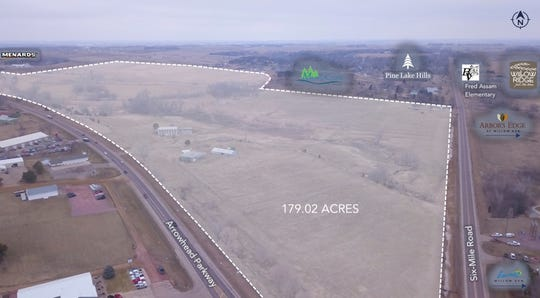 A screen capture showing a birds-eye view of the Nelson Development property in eastern Sioux Falls.