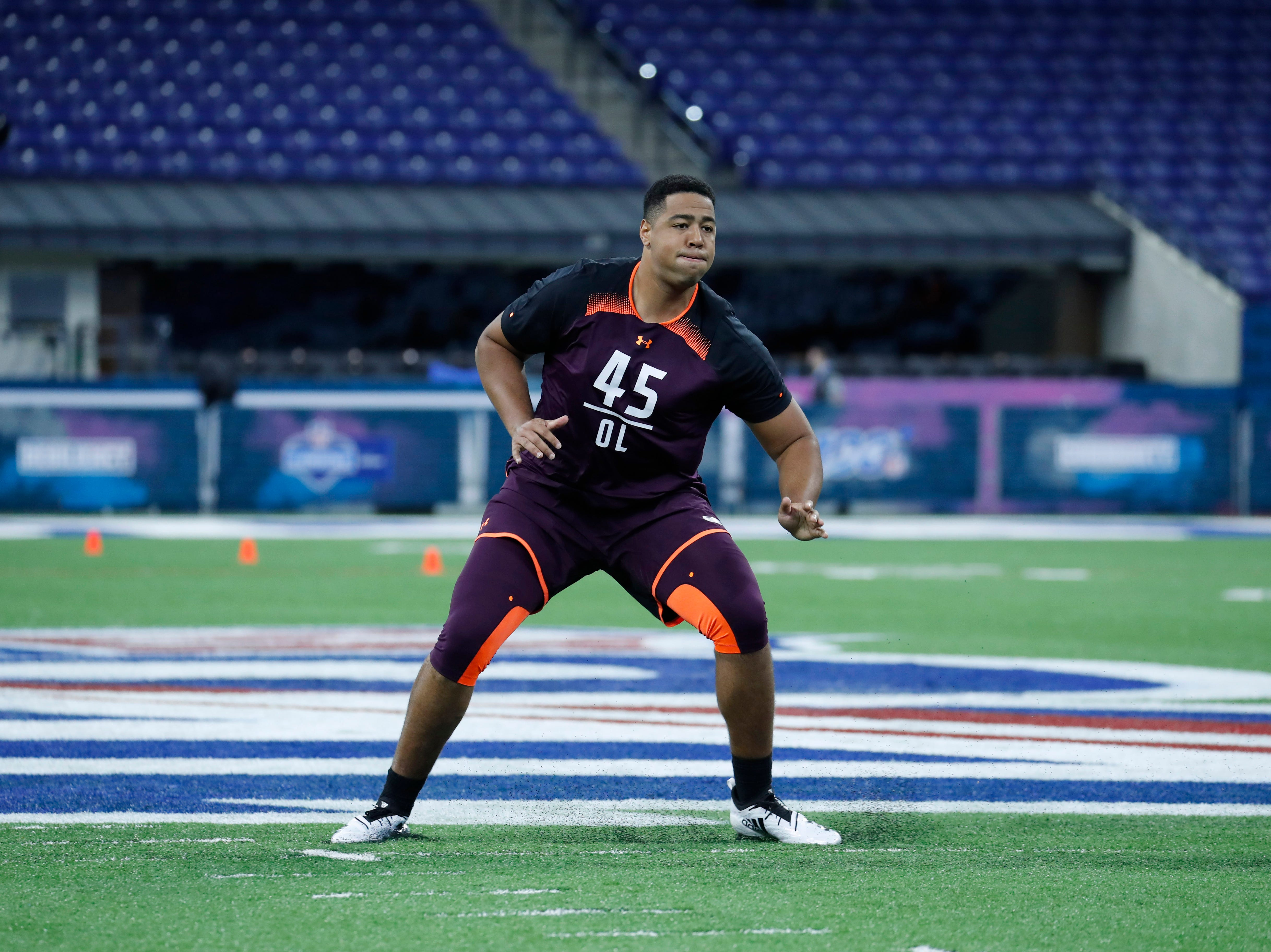 Mar 1, 2019; Indianapolis, IN, USA; Sioux Falls offensive lineman Trey Pipkins (OL45) goes through workout drills during the 2019 NFL Combine at Lucas Oil Stadium. Mandatory Credit: Brian Spurlock-USA TODAY Sports