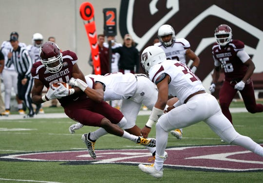 The Missouri State football offense took on its own defense during the spring football game at Plaster Stadium on Thursday, April 17, 2019.