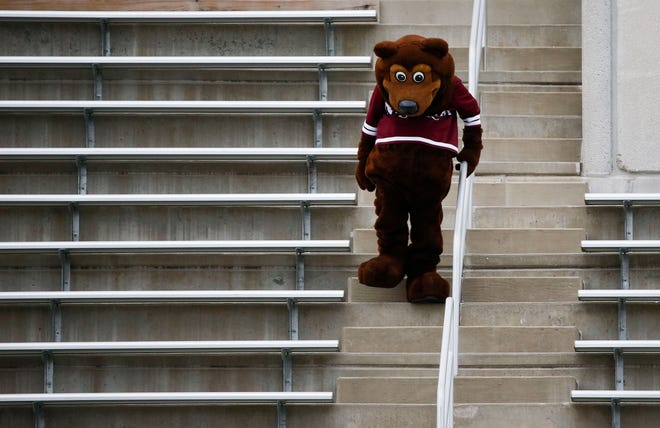 Boomer, the Missouri State mascot,  during the spring football game at Plaster Stadium on Thursday, April 17, 2019.