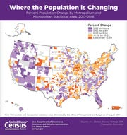 A U.S. Census map released April 18, 2019 shows metropolitan areas with growing populations in purple. Declining metros are in orange. The Springfield metro is in light purple.