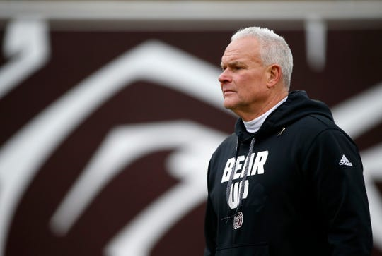 Missouri State football is entering its fifth year under head coach Dave Steckel, shown in an April 2019 file photo.