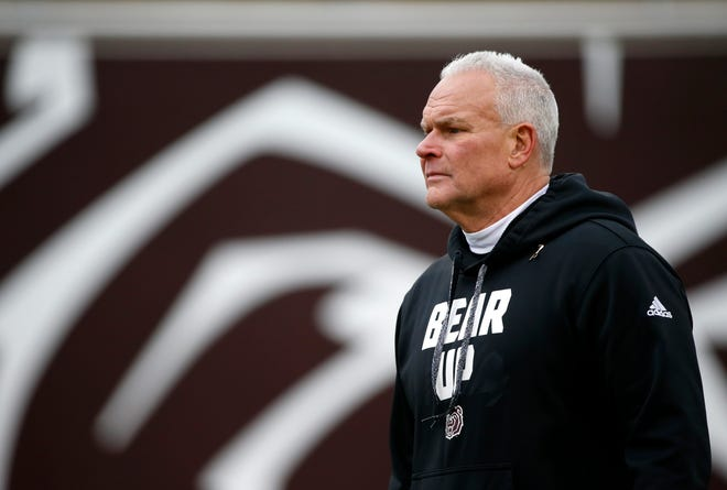Missouri State football coach Dave Steckel during the spring football game at Plaster Stadium on Thursday, April 17, 2019.