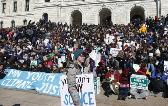 Several hundred  Minnesota students gathered March 15 at the state Capitol to demand that governments take swift and decisive action to fight climate change. Experts say young people, in particular, seem susceptible to the psychological toll from the steady stream of bleak scientific studies and reports of melting glaciers, rising seas and extreme weather events.