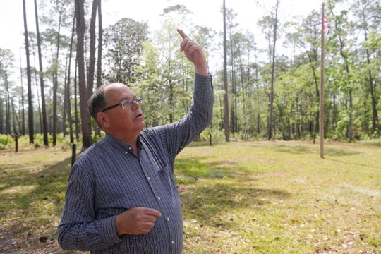 Local historian Dale Cox talks about the history of the Negro Fort that stood at Prospect Bluff in the Apalachicola National Forest Wednesday, April 17, 2019.