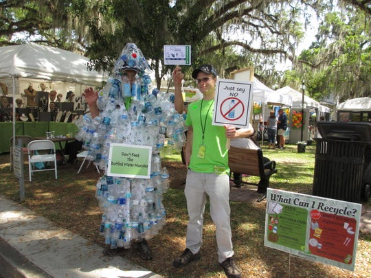 Just say NO to bottled water, says the Water Bottle Monster!