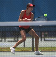Leon's Carsyn Kenny plays during the District 2-3A tennis tournament at Tom Brown Park on April 17 and 18, 2019.
