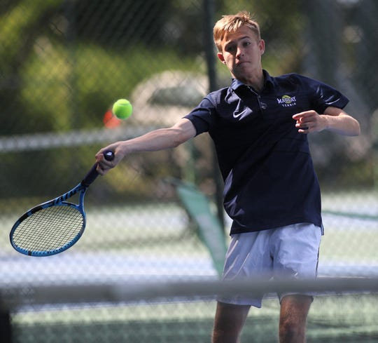 Maclay senior Will Daughton plays in the District 2-1A tennis tournament at Maclay School on April 16 and 17, 2019.