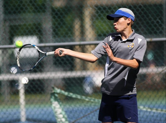 Community Christian's David Buchner plays in the District 2-1A tennis tournament at Maclay School on April 16 and 17, 2019.
