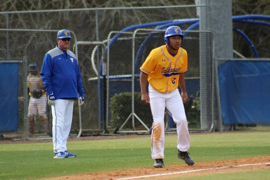 Eagles outfielder Taylor Lomack studies the pitchers moves from third base. He leads the teams with 40 runs scored this season.