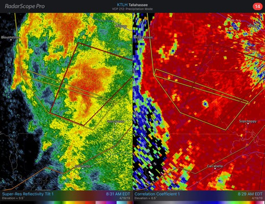 The National Weather Service says a radar-confirmed tornado touched down southeast of Blountstown.