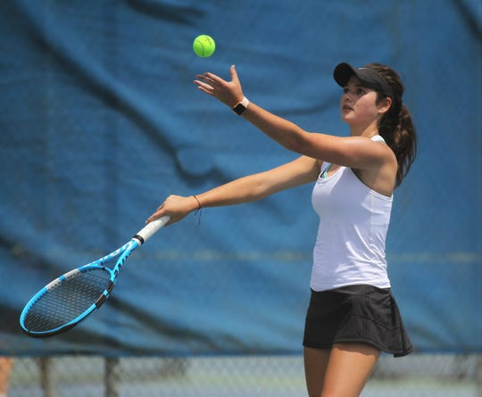 Chiles senior Gracie Wilson plays during the District 2-3A tennis tournament at Tom Brown Park on April 17 and 18, 2019.
