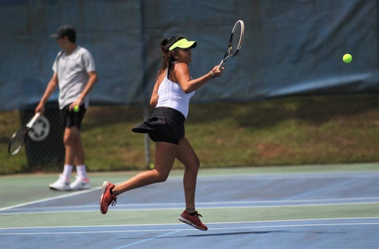 Chiles junior Sofia Guerrero plays during the District 2-3A tennis tournament at Tom Brown Park on April 17 and 18, 2019.