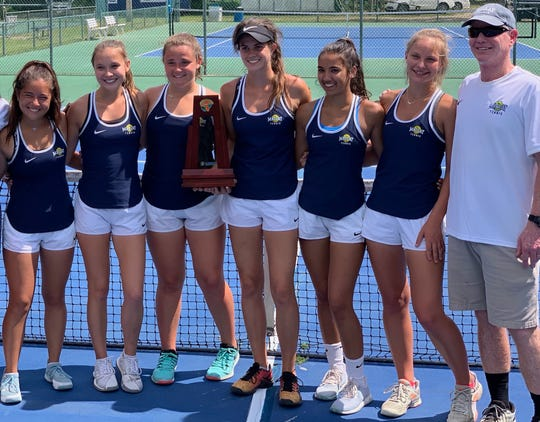 Maclay's girls tennis team won a District 2-1A title this past week, sweeping all seven positions to beat St. John Paul II.