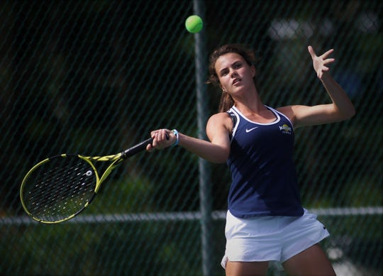 Maclay sophomore Madison Perkins plays in the District 2-1A tennis tournament at Maclay School on April 16 and 17, 2019.