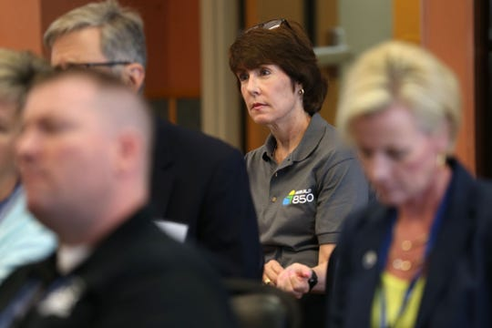 Gwen Graham, former congresswoman and cochair of Rebuild 850, joins a group of Florida Chamber Foundation members and statewide organization leaders as they hear some of the concerns from Calhoun County elected officials and business owners Wednesday, April 17, 2019. The biggest concern for those living in Calhoun is the possibility the local hospital shutting down because of the damage caused by Hurricane Michael six months ago.