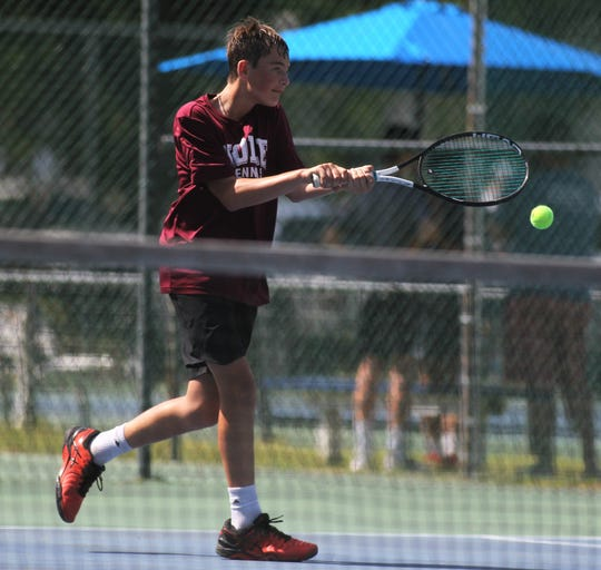 Florida High's Gabe Roane plays in the District 2-1A tennis tournament at Maclay School on April 16 and 17, 2019.