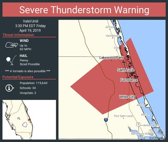 A severe thunderstorm warning has been issued until 3:30 p.m. for portions of St. Lucie County April 19, 2019.