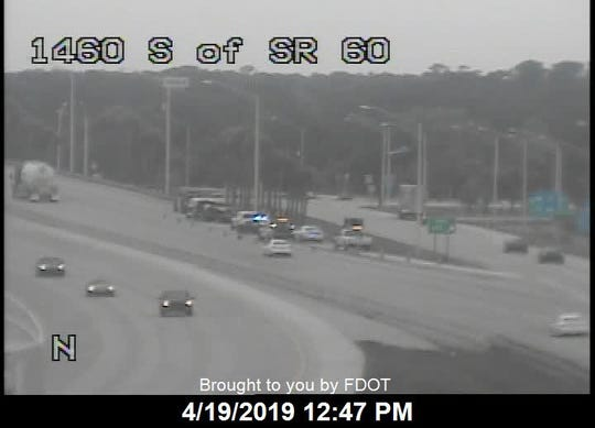 One person was injured after a vehicle smacked a concrete barrier along I-95 at the Vero Beach exit.