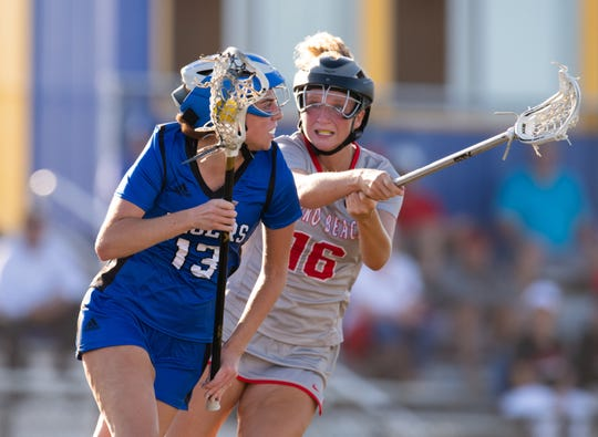 Martin County plays against Vero Beach during the District 23 championship high school girls lacrosse game at Martin County High School on Thursday, April 18, 2019, in Stuart.