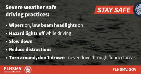 Safe driving tips during weather offered by the Florida Highway Safety and Motor Vehicles.