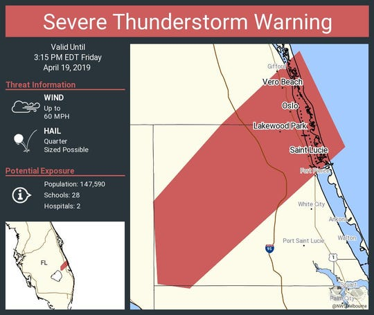 Severe thunderstorm warning issued for portions of Indian River and St. Lucie counties.