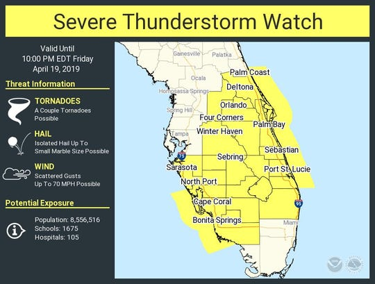 Severe thunderstorm watch issued for Space and Treasure coasts.