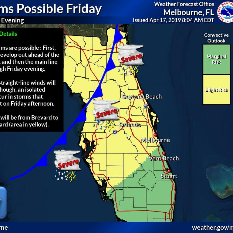 Windy, rainy day expected ahead of strong cold front moving across Florida