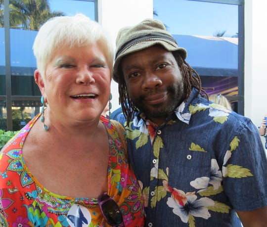 Roe Green and Dana Munson, director of marketing, enjoy the relaxed atmosphere of the islands at the ribbon cutting ceremony for phase one of the $32 millionBelieveCapital Campaign at Maltz Jupiter Theatre.