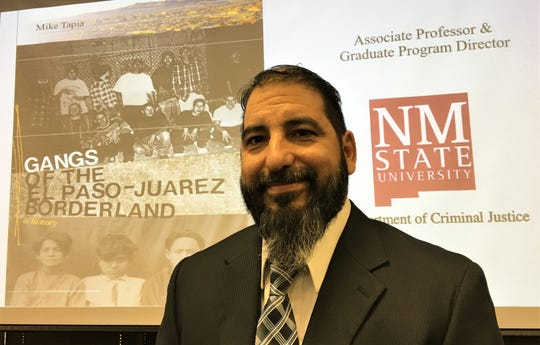 NMSU criminology professor Mike Tapia, author of a book on the history of gangs in the El Paso-Juárez border, spoke at a symposium on gangs on April 18, 2019, at UTEP.