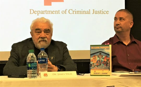 "Gang researchers James Diego Vigil and Robert J. Durán spoke at the ""Gangs of the Southwest"" symposium Thursday, April 18, 2019, at the University of Texas at El Paso."