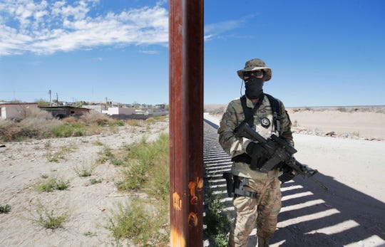 """Viper"" of the "" United Constitutional Patriots-New Mexico Border Ops, patrol where the bollard fence in Anapra, New Mexico ends. The group has been camped out on the border for a few months helping Border Patrol watch this section of border."