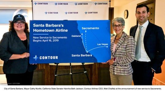 Santa Barbara Mayor Cathy Murillo, state Sen. Hannah-Beth Jackson and Contour Airlines CEO Matt Chaifetz show the airline's routes out of Santa Barbara.