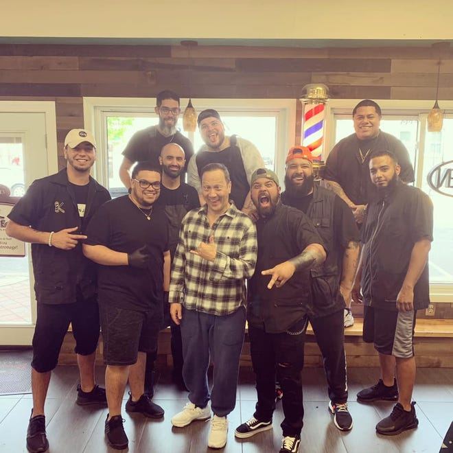 Actor and comedian Rob Schneider stopped into Razor's Edge Barber Shop in Millville ahead of his show at the Levoy Theatre.