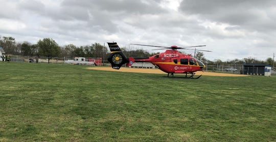 A man, reportedly stabbed, was flown to Cooper University Hospital from a landing zone at Fiocchi Field in Vineland. April 19, 2019