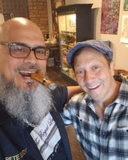 Rob Schneider stopped by The Royal Leaf cigar shop on North High Street in Millville on Friday.
