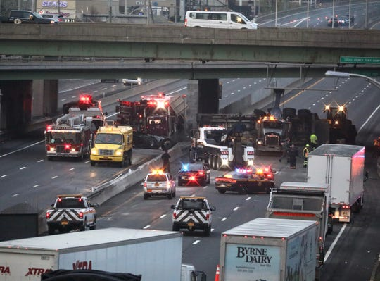 A tractor-trailer overturned on Interstate 87 in Yonkers on April 19, 2019.