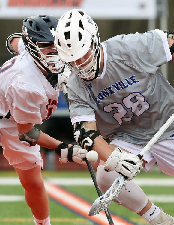 Bronxville's Henry Donohue (28) controls a face-off in front of Briarcliff's Aidan Murnane  (19) during boys lacrosse action at Briarcliff High School  April 18,  2019. Bronxville won the game 8-7.