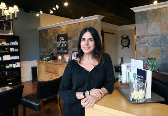 Carmela Kinnally, owner of The Fine Men's Salon of Westchester talks about her Mamaroneck business April 18,  2019.