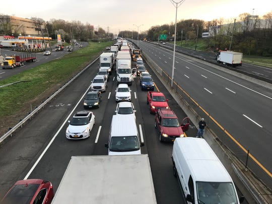An overturned tractor-trailer caused traffic delays on Interstate 87 in Yonkers on April 19, 2019.