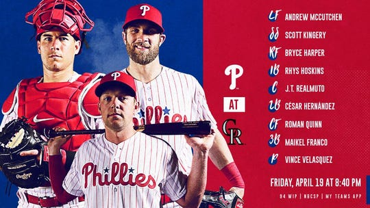 Phillies' lineup Friday night in Colorado.