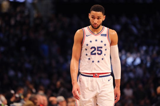 Ben Simmons #25 of the Philadelphia 76ers looks on in the first quarter against the Brooklyn Nets during game three of Round One of the 2019 NBA Playoffs at Barclays Center on April 18, 2019 in the Brooklyn borough of New York City.